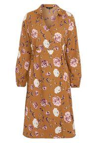 Happy Holly Sukienka Cathrine w kwiaty female ze wzorem 32/34. Typ kołnierza: kołnierzyk stójkowy, dekolt kopertowy. Materiał: tkanina, guma. Długość rękawa: długi rękaw. Wzór: kwiaty. Typ sukienki: kopertowe