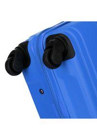 Niebieska walizka Wittchen w geometryczne wzory, klasyczna
