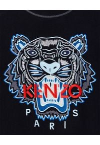 Kenzo - KENZO - Czarna bluza z tygrysem. Okazja: na co dzień. Kolor: czarny. Materiał: dresówka, bawełna, jeans. Długość rękawa: długi rękaw. Długość: długie. Wzór: aplikacja. Styl: casual