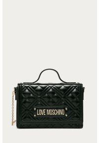 Czarna listonoszka Love Moschino na ramię, z aplikacjami