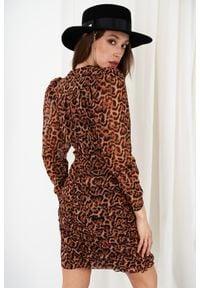 e-margeritka - Sukienka ołówkowa mini z szyfonowymi rękawami - druk 21, m. Materiał: szyfon. Typ sukienki: ołówkowe. Styl: elegancki. Długość: mini