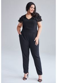 Czarny kombinezon Moda Size Plus Iwanek na co dzień, elegancki