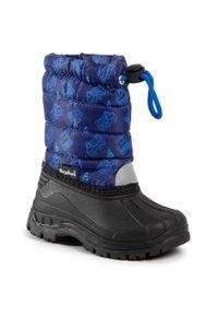 Niebieskie śniegowce Playshoes marine, na spacer, z cholewką, z aplikacjami