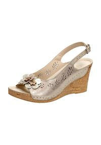 Złote sandały Gregors klasyczne, na koturnie