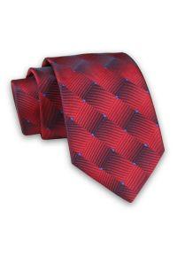 Alties - Czerwono-Niebieski Męski Krawat -ALTIES- 7cm, Klasyczny, 3D, Trójwymiarowy. Kolor: niebieski, czerwony, wielokolorowy. Materiał: tkanina. Wzór: geometria. Styl: klasyczny