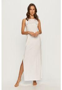 Emporio Armani - Sukienka. Okazja: na co dzień. Kolor: biały. Materiał: dzianina. Wzór: nadruk. Typ sukienki: proste. Styl: casual