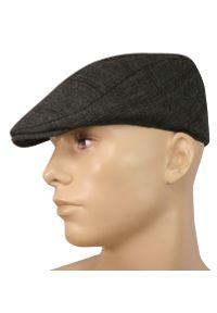 Szara czapka Pako Jeans na zimę, w kratkę