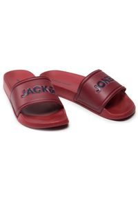 Jack & Jones - Klapki JACK&JONES - Jfwlarry 12184280 Red Dahlia. Okazja: na co dzień. Kolor: czerwony. Materiał: skóra ekologiczna, materiał. Styl: casual #3