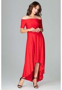 Katrus - Czerwona Długa Asymetryczna Sukienka z Odkrytymi Ramionami. Kolor: czerwony. Materiał: poliester, elastan. Typ sukienki: asymetryczne, z odkrytymi ramionami. Długość: maxi