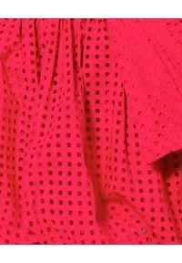 Czerwona sukienka mini bombki, w ażurowe wzory, na lato