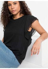 Shirt z falbanami bonprix czarny. Kolor: czarny