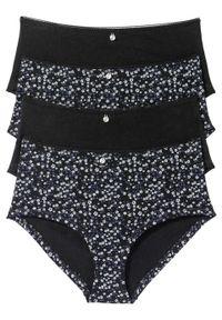 "Figi ""maxi panty"" (4 pary) bonprix czarno-szary z nadrukiem. Kolor: czarny. Wzór: nadruk"
