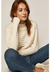 Kremowy sweter medicine z długim rękawem, casualowy, długi