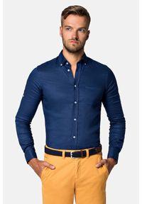 Lancerto - Koszula Granatowa Cheryl. Typ kołnierza: button down. Kolor: niebieski. Materiał: bawełna, len, tkanina, włókno. Długość: krótkie. Wzór: gładki. Sezon: lato