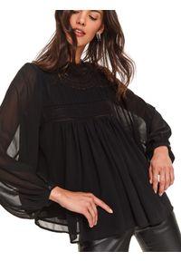 Czarna bluzka TOP SECRET z długim rękawem, długa