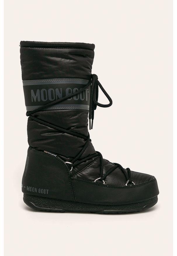 Czarne śniegowce Moon Boot z cholewką, na obcasie, na średnim obcasie