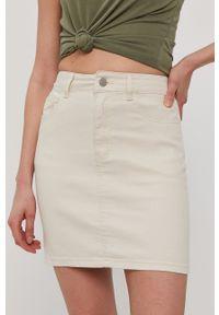 Vila - Spódnica jeansowa. Okazja: na co dzień. Kolor: beżowy. Materiał: jeans. Styl: casual