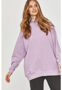 Fioletowa bluza Answear Lab z długim rękawem, długa, z golfem