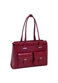 """MCKLEIN - Skórzana torba damska na laptopa 15,4"""" czerwona Mcklein Alexis 96546. Kolor: czerwony. Wzór: aplikacja. Sezon: lato. Materiał: skórzane. Styl: biznesowy, klasyczny, elegancki. Rodzaj torebki: na ramię"""