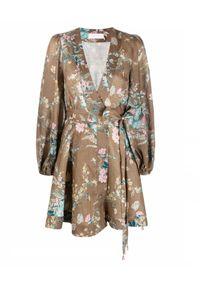 ZIMMERMANN - Lniana sukienka w kwiaty. Kolor: brązowy. Materiał: len. Wzór: kwiaty. Długość: mini