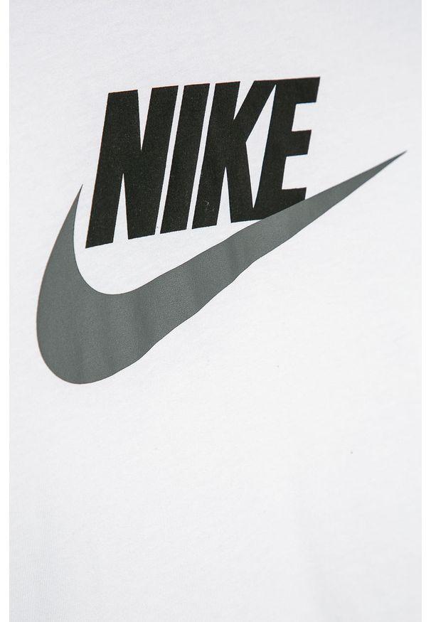 Biały t-shirt Nike Kids z nadrukiem, z okrągłym kołnierzem