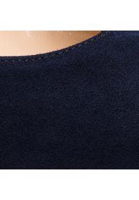 Niebieskie półbuty sagan na obcasie, z cholewką, na średnim obcasie