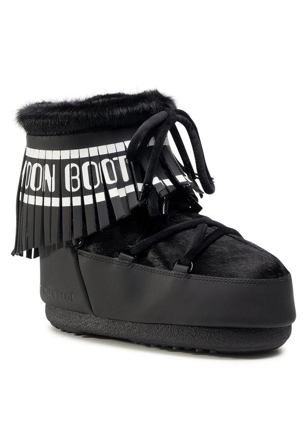 Czarne śniegowce Moon Boot z aplikacjami, z cholewką, na zimę