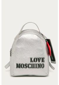 Srebrny plecak Love Moschino elegancki, z aplikacjami