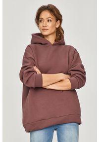 Fioletowa bluza Answear Lab z kapturem, gładkie, wakacyjna