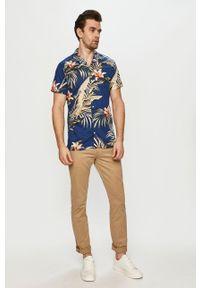 Niebieska koszula PRODUKT by Jack & Jones klasyczna, z krótkim rękawem, krótka
