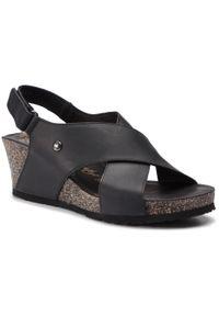 Czarne sandały Panama Jack na średnim obcasie, na obcasie