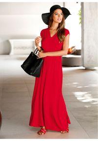 Długa sukienka z dżerseju LENZING™ ECOVERO™ bonprix truskawkowy. Kolor: czerwony. Materiał: jersey. Długość: maxi