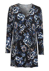 Niebieska tunika Cellbes elegancka, z długim rękawem, z dekoltem w serek, w kwiaty