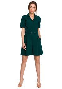 MOE - Elegancki Kombinezon z Krótkimi Nogawkami - Zielony. Kolor: zielony. Materiał: poliester, wiskoza, elastan. Długość: krótkie. Styl: elegancki