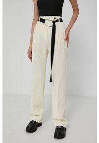 Victoria Victoria Beckham - Spodnie. Kolor: beżowy. Materiał: tkanina