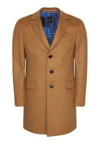 TOMMY HILFIGER - Tommy Hilfiger Tailored Płaszcz wełniany Wool Blend TT0TT08117 Brązowy Regular Fit. Kolor: brązowy. Materiał: wełna #6