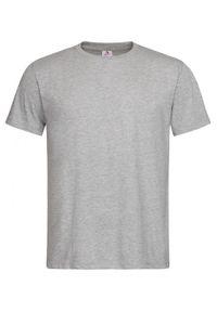 Stedman - Szary Bawełniany T-Shirt Męski Bez Nadruku -STEDMAN- Koszulka, Krótki Rękaw, Basic, U-neck. Okazja: na co dzień. Kolor: szary. Materiał: bawełna, wiskoza. Długość rękawa: krótki rękaw. Długość: krótkie. Styl: casual