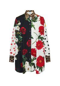 DOLCE & GABBANA - Oversizowa koszula z kwiatowym printem. Kolor: czerwony. Materiał: bawełna. Długość rękawa: długi rękaw. Długość: długie. Wzór: nadruk, kwiaty