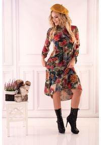 Merribel - Sukienka Retro w Kwiaty. Materiał: poliester. Wzór: kwiaty. Styl: retro