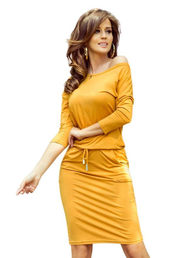 Pomarańczowa sukienka Numoco sportowa, sportowa