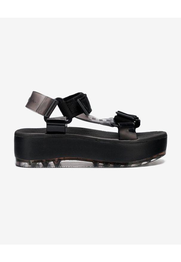 Czarne sandały melissa w kolorowe wzory, na rzepy, na platformie