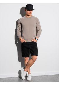 Ombre Clothing - Bluza męska bez kaptura B1156 - brązowa - XXL. Typ kołnierza: bez kaptura. Kolor: brązowy. Materiał: bawełna, dzianina, poliester, dresówka, jeans