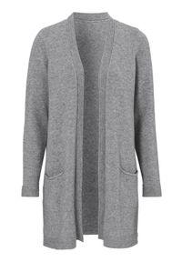 Szary sweter Cellbes klasyczny, z dekoltem w serek, melanż