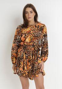 Born2be - Pomarańczowo-Brązowa Sukienka Clivia. Kolor: pomarańczowy. Materiał: materiał. Długość rękawa: długi rękaw. Wzór: motyw zwierzęcy, kolorowy. Długość: mini