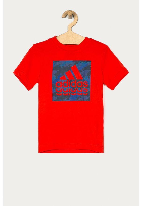 Czerwony t-shirt adidas Performance casualowy, na co dzień, z nadrukiem