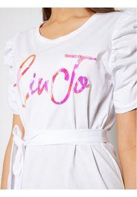 Biała sukienka Liu Jo na co dzień, prosta, casualowa