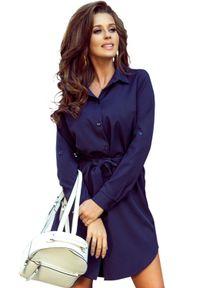 Numoco - Koszulowa sukienka szmizjerka wiązana w pasie. Materiał: materiał, elastan. Typ sukienki: koszulowe, szmizjerki
