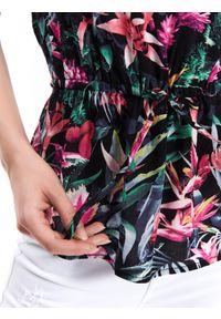 Czarna bluzka TOP SECRET z krótkim rękawem, z nadrukiem, elegancka