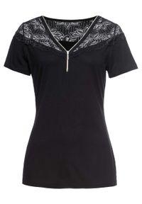 Shirt z koronką i zamkiem bonprix czarny. Typ kołnierza: dekolt w serek. Kolor: czarny. Materiał: koronka. Wzór: koronka