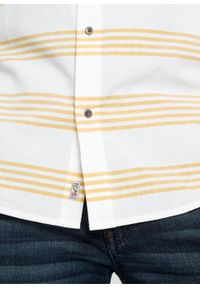 Biała koszula bonprix w paski, z krótkim rękawem
